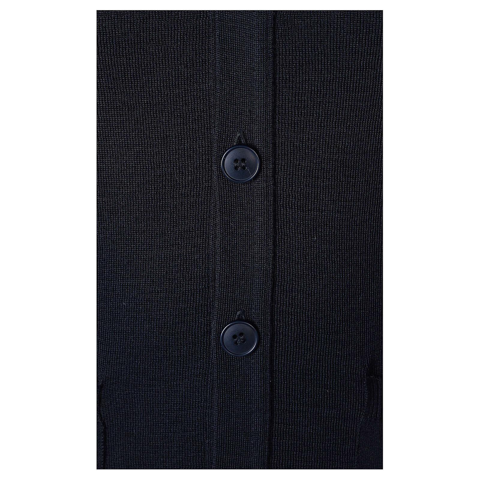 Gilet sacerdote blu aperto con tasche bottoni TAGLIE CONF. In Primis 4