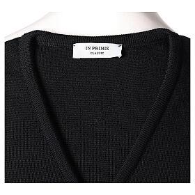 Gilet sacerdote nero in maglia rasata 50% acr. 50% merino TAGLIE CONF. In Primis s5