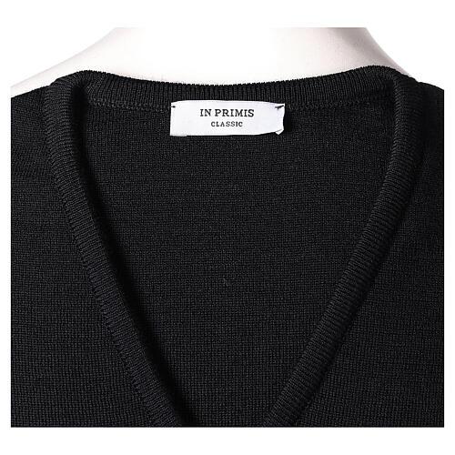 Gilet sacerdote nero in maglia rasata 50% acr. 50% merino TAGLIE CONF. In Primis 5