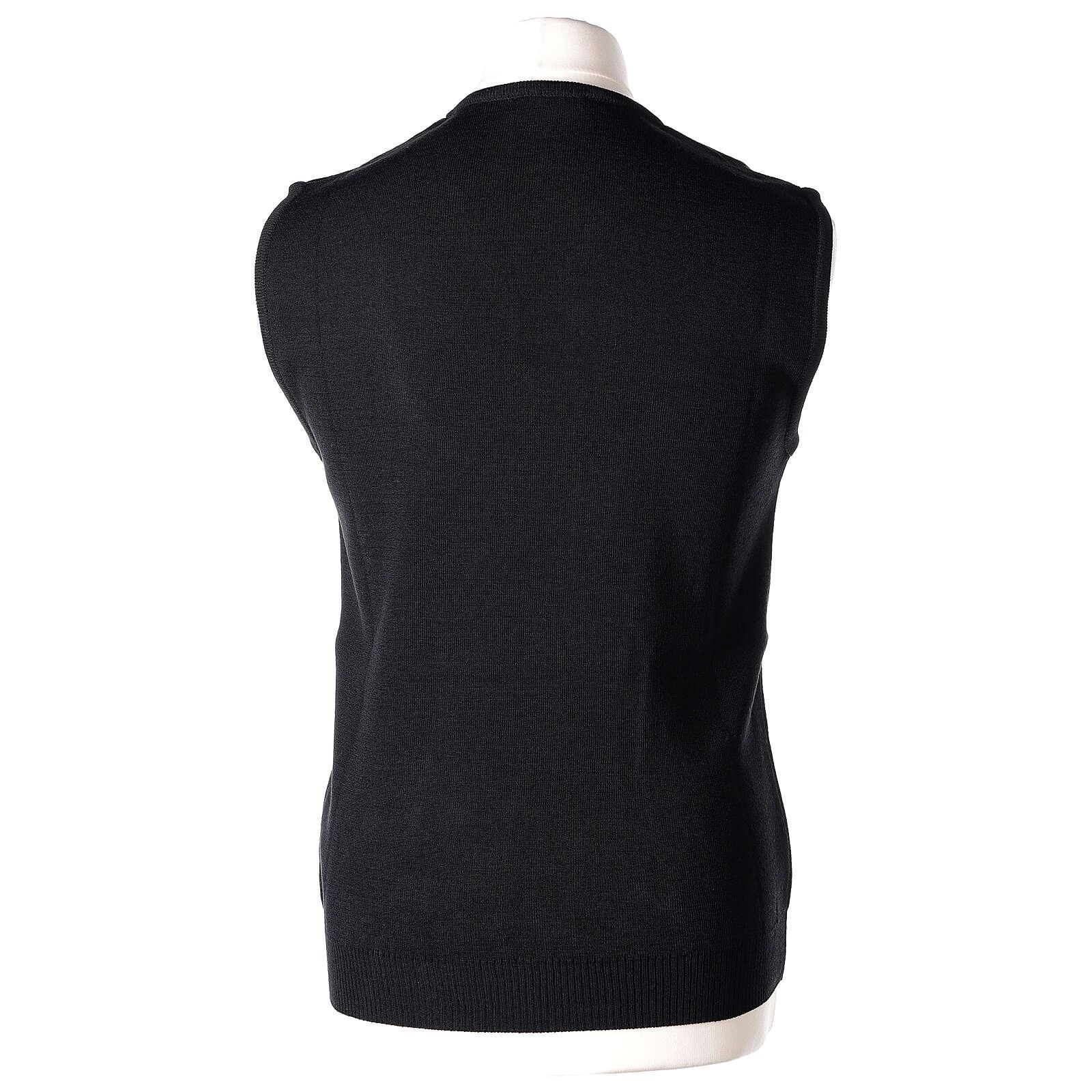 Clergy black sleeveless jumper plain knit 50% merino wool 50% acrylic PLUS SIZES In Primis 4