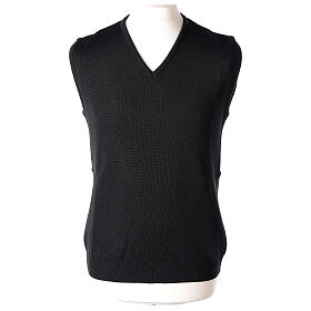 Clergy black sleeveless jumper plain knit 50% merino wool 50% acrylic PLUS SIZES In Primis s1