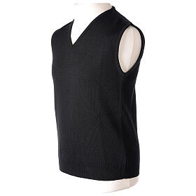 Clergy black sleeveless jumper plain knit 50% merino wool 50% acrylic PLUS SIZES In Primis s3