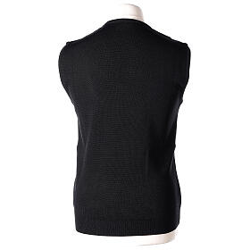 Clergy black sleeveless jumper plain knit 50% merino wool 50% acrylic PLUS SIZES In Primis s4