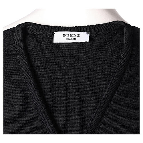 Clergy black sleeveless jumper plain knit 50% merino wool 50% acrylic PLUS SIZES In Primis 5