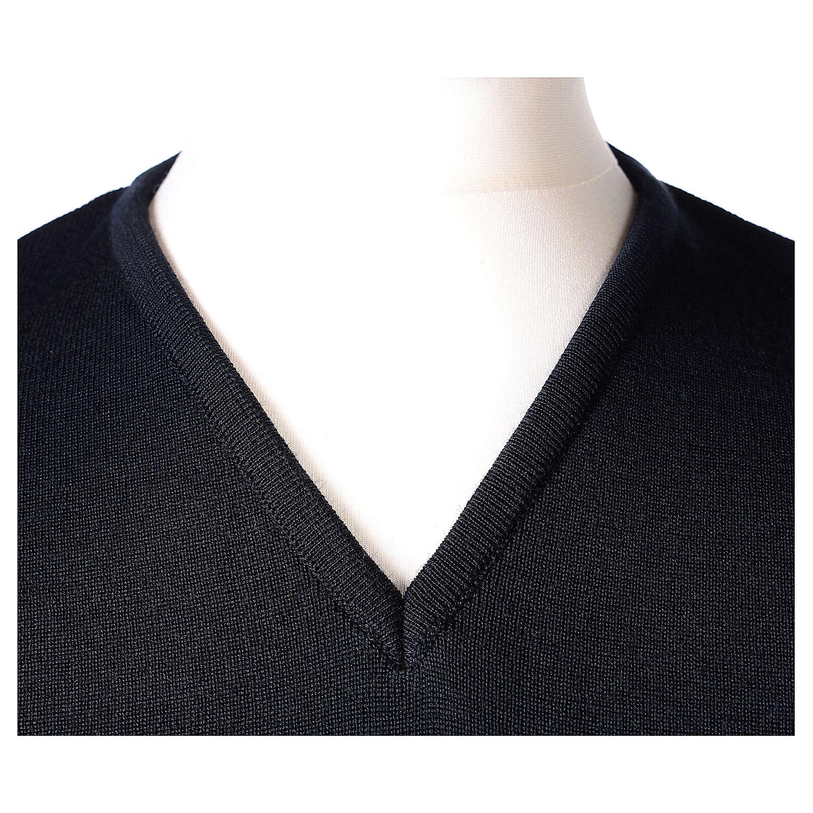 Gilet sacerdote blu chiuso maglia unita 50% merino 50% acr. TAGLIE CONF. In Primis 4