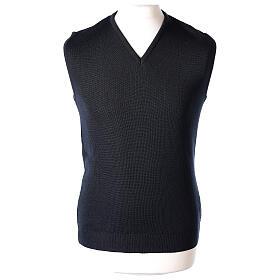 Gilet sacerdote blu chiuso maglia unita 50% merino 50% acr. TAGLIE CONF. In Primis s1