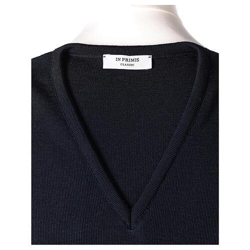 Gilet sacerdote blu chiuso maglia unita 50% merino 50% acr. TAGLIE CONF. In Primis 5