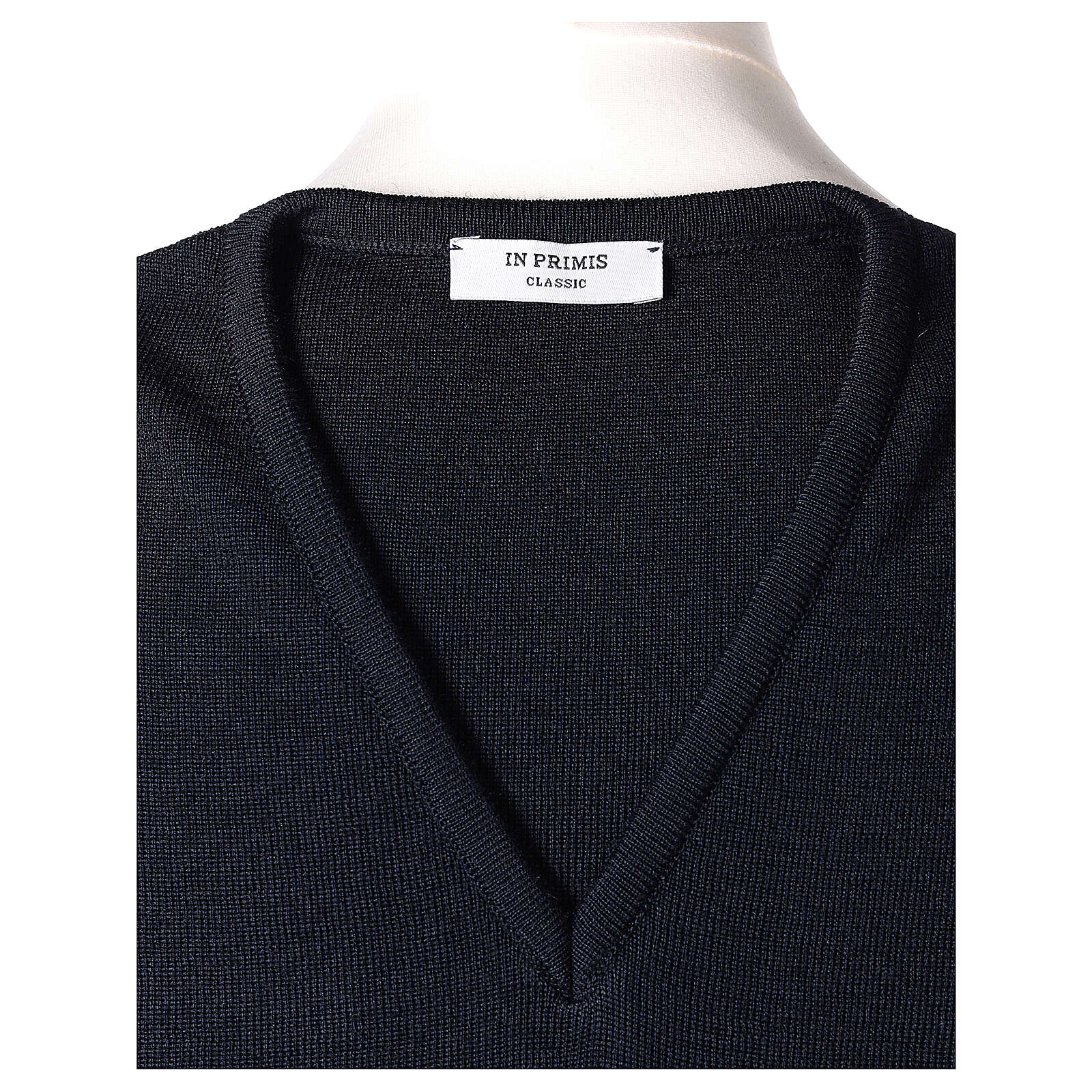 Clergy blue sleeveless jumper plain knit 50% merino wool 50% acrylic PLUS SIZES In Primis 4