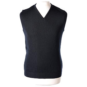 Clergy blue sleeveless jumper plain knit 50% merino wool 50% acrylic PLUS SIZES In Primis s1