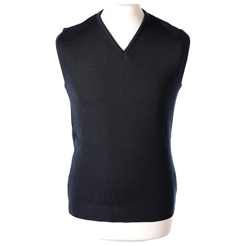 Clergy blue sleeveless jumper plain knit 50% merino wool 50% acrylic PLUS SIZES In Primis 1
