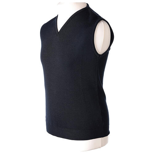 Clergy blue sleeveless jumper plain knit 50% merino wool 50% acrylic PLUS SIZES In Primis 3