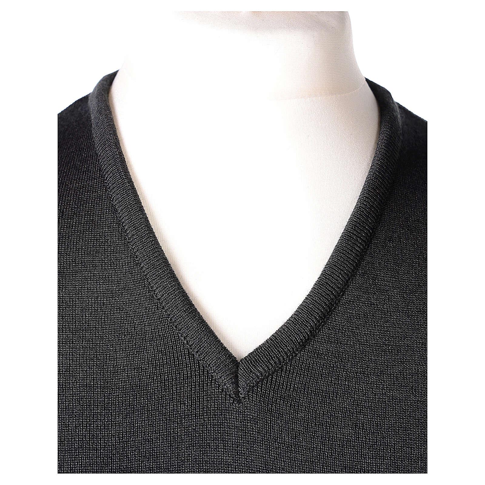 Clergy grey sleeveless jumper plain knit 50% merino wool 50% acrylic PLUS SIZES In Primis 4