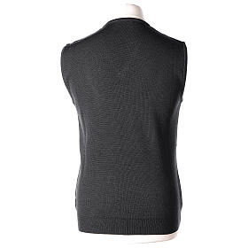 Clergy grey sleeveless jumper plain knit 50% merino wool 50% acrylic PLUS SIZES In Primis s4
