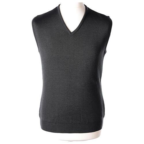 Clergy grey sleeveless jumper plain knit 50% merino wool 50% acrylic PLUS SIZES In Primis 1