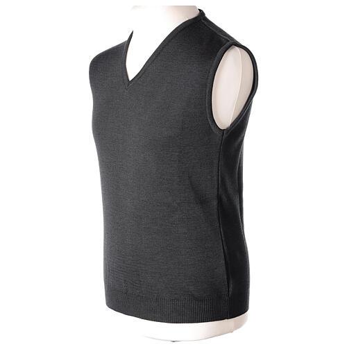 Clergy grey sleeveless jumper plain knit 50% merino wool 50% acrylic PLUS SIZES In Primis 3