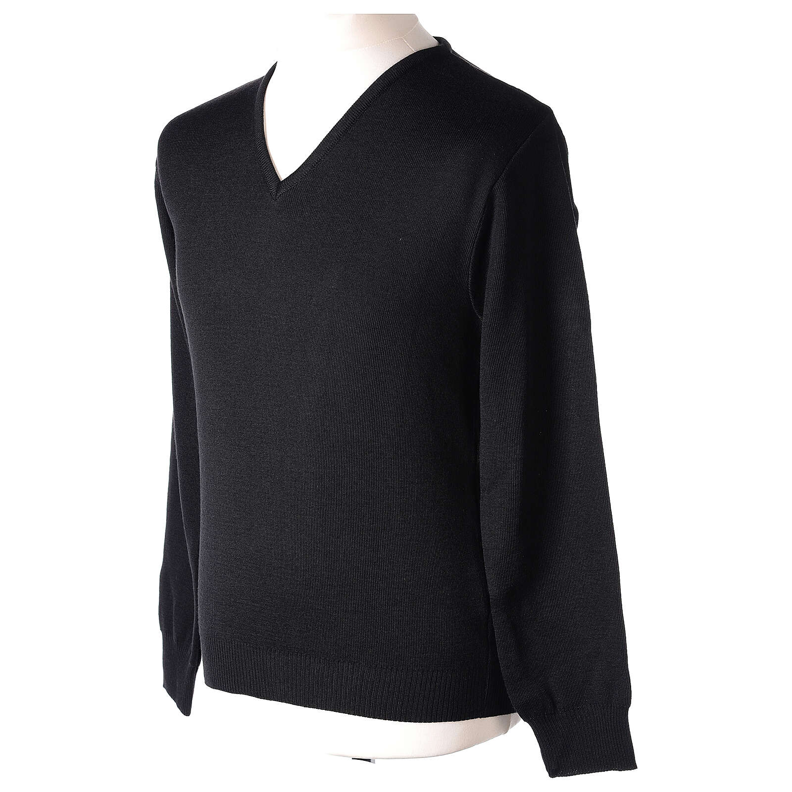Clergy jumper V-neck black PLUS SIZES 50% merino wool 50% acrylic In Primis 4