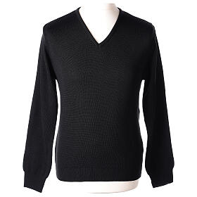 Clergy jumper V-neck black PLUS SIZES 50% merino wool 50% acrylic In Primis s1