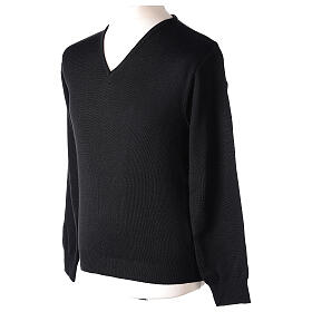 Clergy jumper V-neck black PLUS SIZES 50% merino wool 50% acrylic In Primis s3