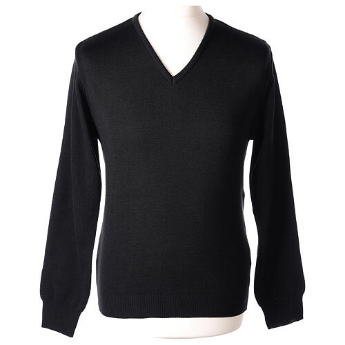 Clergy jumper V-neck black PLUS SIZES 50% merino wool 50% acrylic In Primis 1