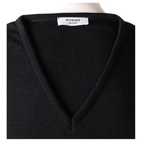Clergy jumper V-neck black PLUS SIZES 50% merino wool 50% acrylic In Primis 6