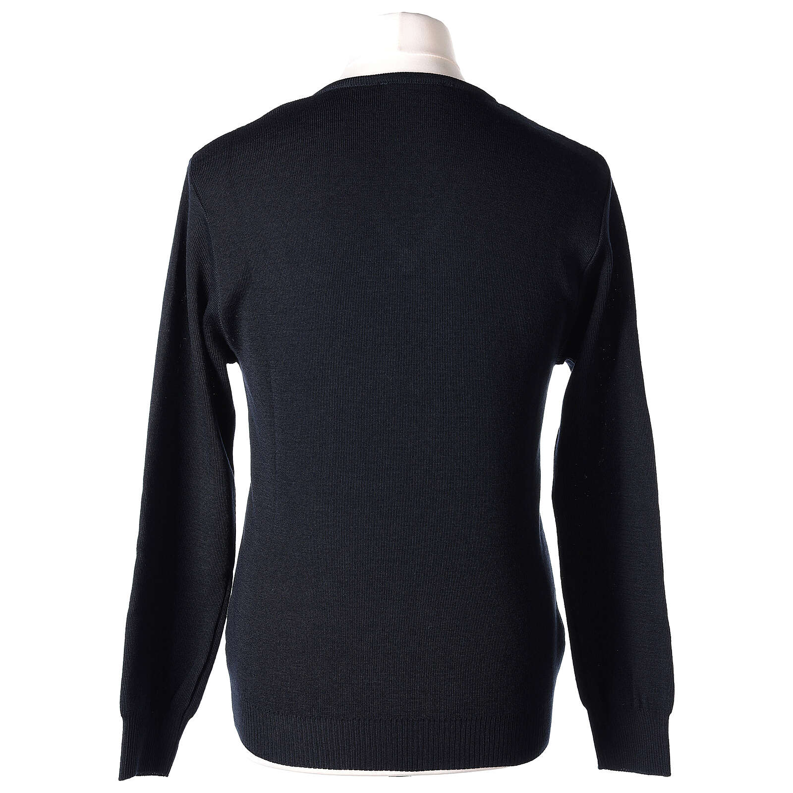 Clergy jumper V-neck blue PLUS SIZES 50% merino wool 50% acrylic In Primis 4