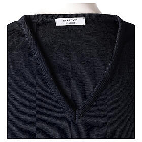 Clergy jumper V-neck blue PLUS SIZES 50% merino wool 50% acrylic In Primis s6