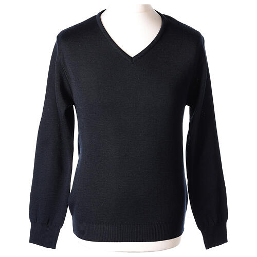 Clergy jumper V-neck blue PLUS SIZES 50% merino wool 50% acrylic In Primis 1