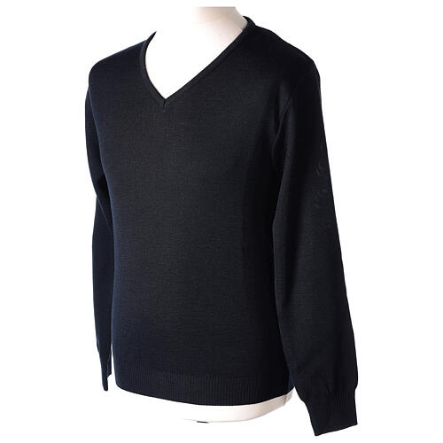 Clergy jumper V-neck blue PLUS SIZES 50% merino wool 50% acrylic In Primis 3