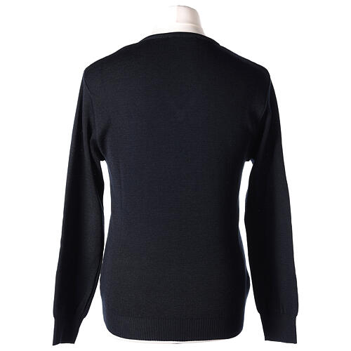 Clergy jumper V-neck blue PLUS SIZES 50% merino wool 50% acrylic In Primis 5