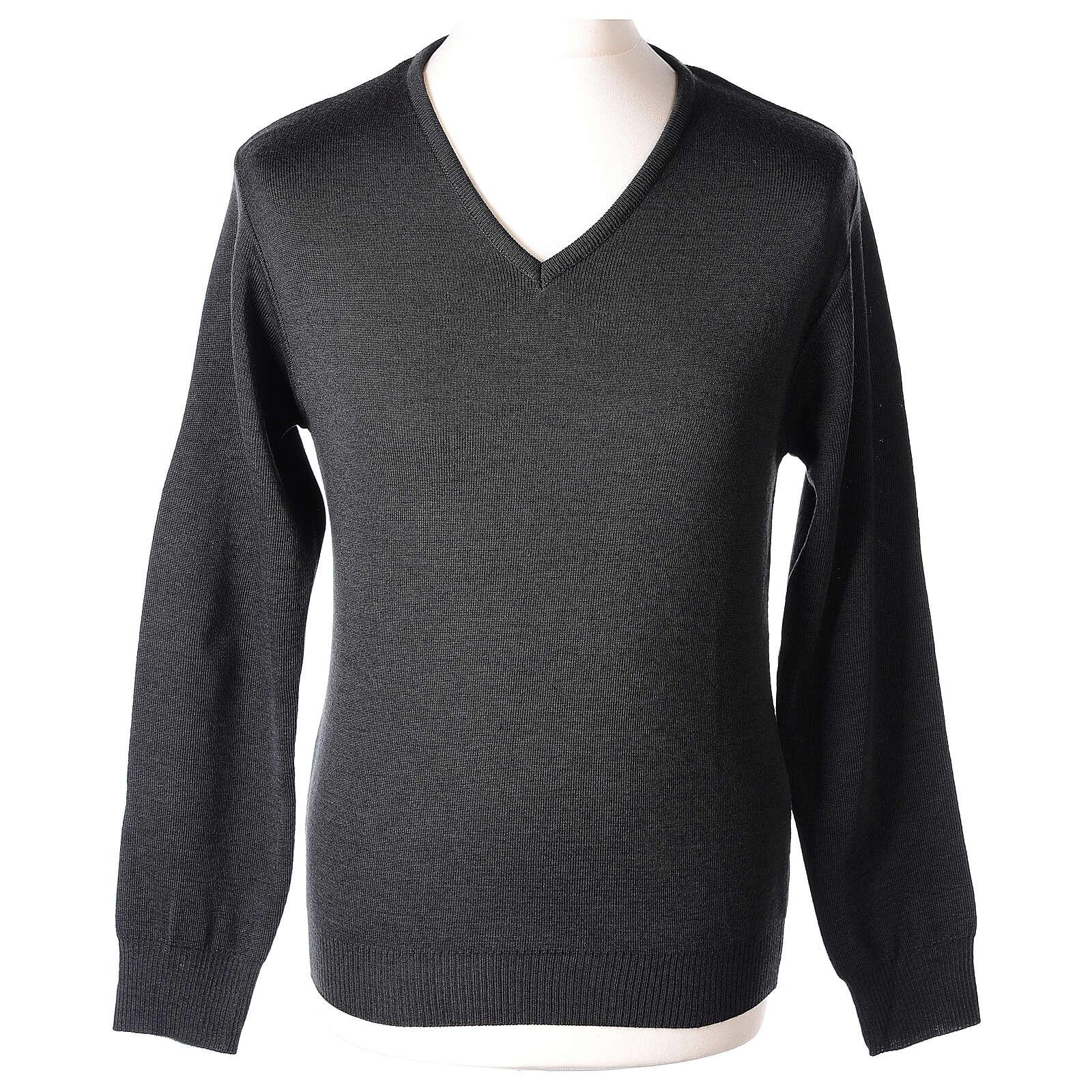 Clergy jumper V-neck grey PLUS SIZES 50% merino wool 50% acrylic In Primis 4