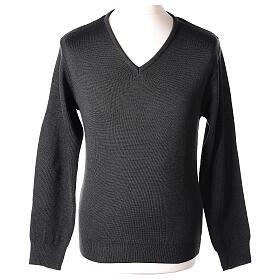 Clergy jumper V-neck grey PLUS SIZES 50% merino wool 50% acrylic In Primis s1