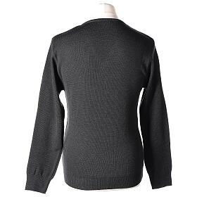 Clergy jumper V-neck grey PLUS SIZES 50% merino wool 50% acrylic In Primis s5