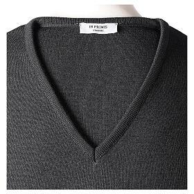 Clergy jumper V-neck grey PLUS SIZES 50% merino wool 50% acrylic In Primis s6