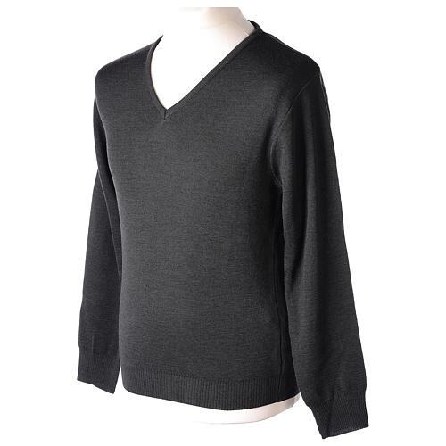 Clergy jumper V-neck grey PLUS SIZES 50% merino wool 50% acrylic In Primis 3