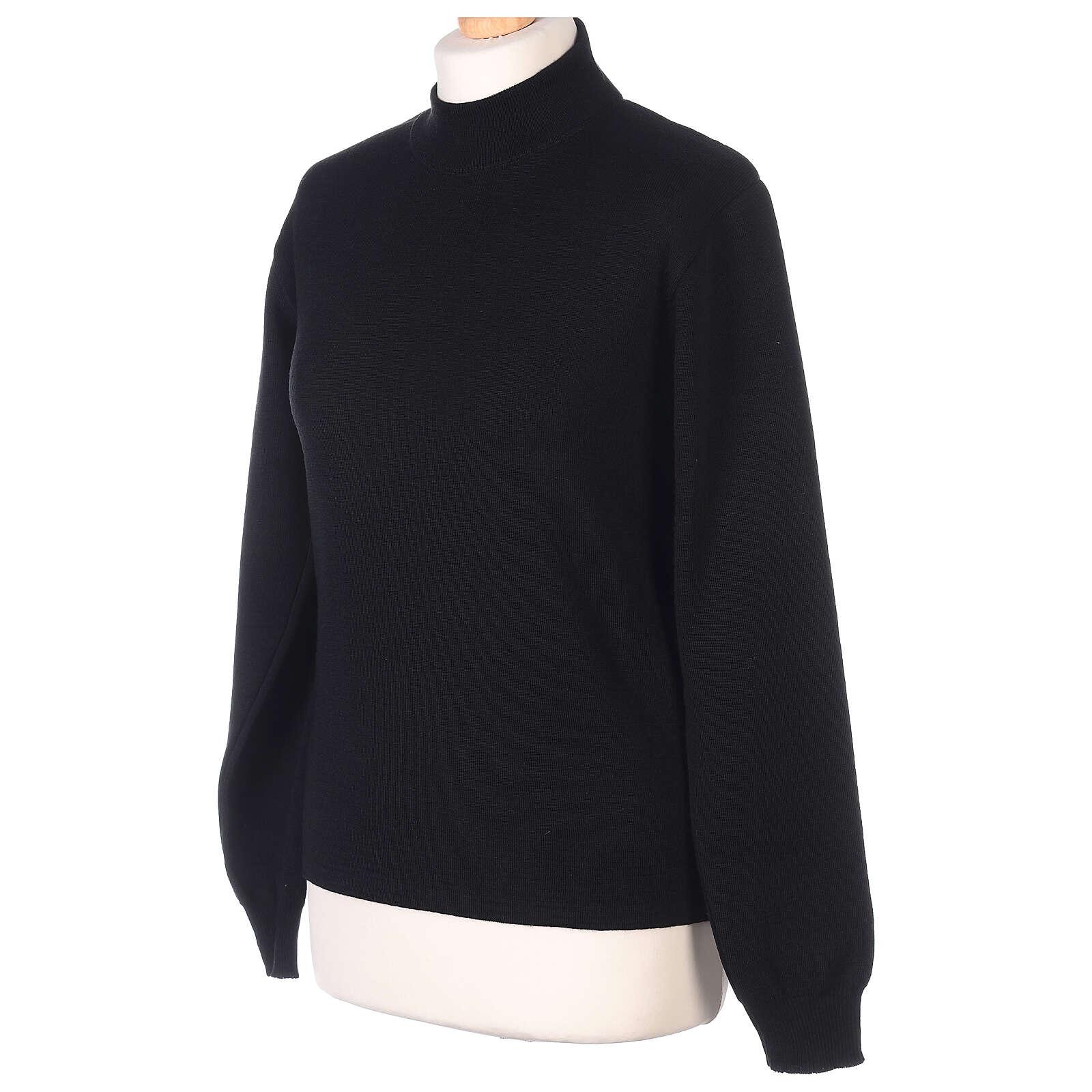 Lupetto nero suora lavorazione maglia unita 50% lana merino 50% acrilico In Primis 4