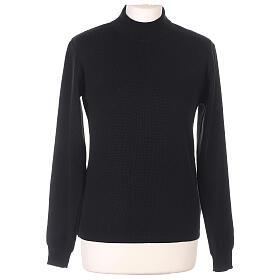 Lupetto nero suora lavorazione maglia unita 50% lana merino 50% acrilico In Primis s1