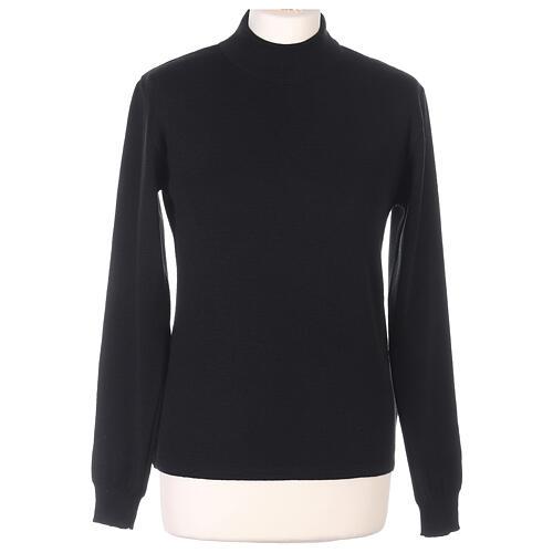 Lupetto nero suora lavorazione maglia unita 50% lana merino 50% acrilico In Primis 1