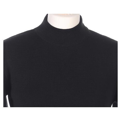 Lupetto nero suora lavorazione maglia unita 50% lana merino 50% acrilico In Primis 2