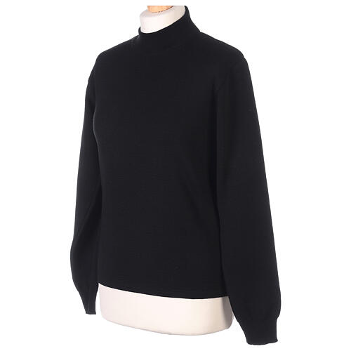 Lupetto nero suora lavorazione maglia unita 50% lana merino 50% acrilico In Primis 3