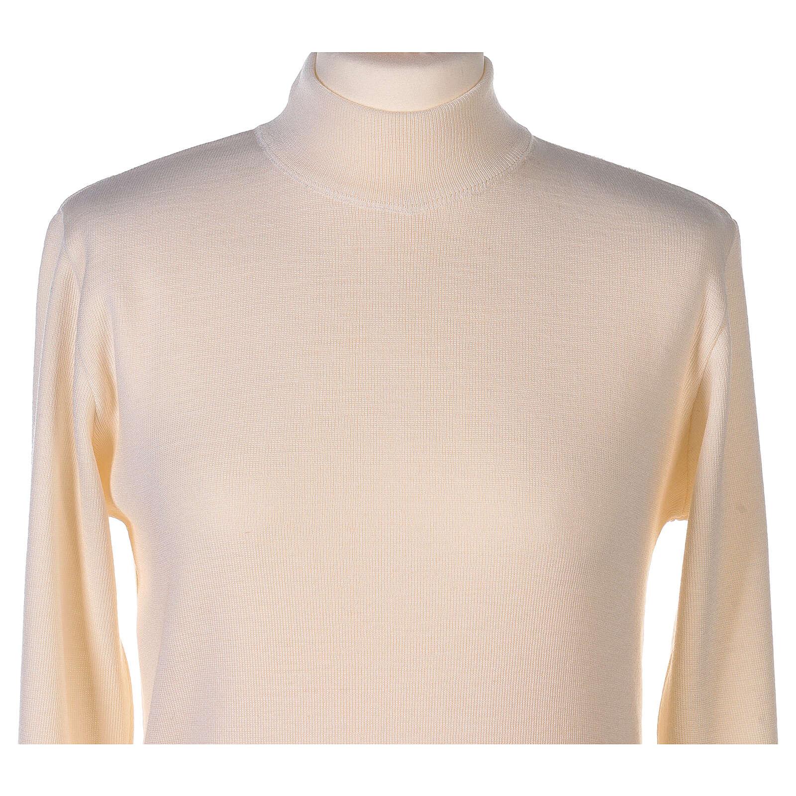 Lupetto bianco suora lavorazione maglia unita 50% lana merino 50% acrilico In Primis 4