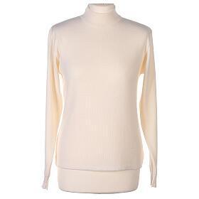 Lupetto bianco suora lavorazione maglia unita 50% lana merino 50% acrilico In Primis s1