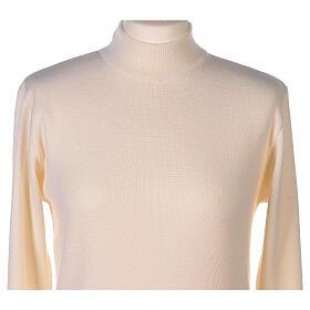 Lupetto bianco suora lavorazione maglia unita 50% lana merino 50% acrilico In Primis s2
