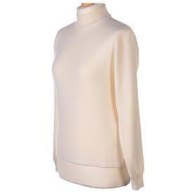 Lupetto bianco suora lavorazione maglia unita 50% lana merino 50% acrilico In Primis s3