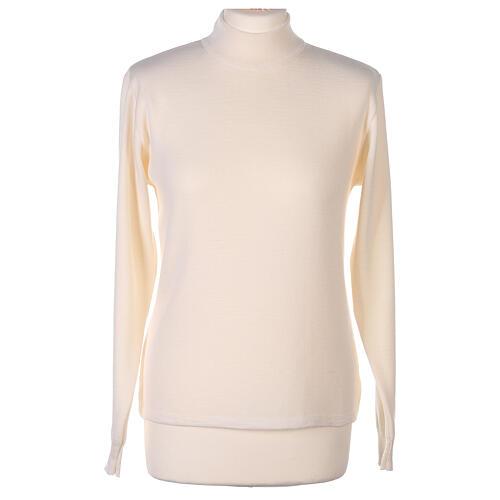 Lupetto bianco suora lavorazione maglia unita 50% lana merino 50% acrilico In Primis 1