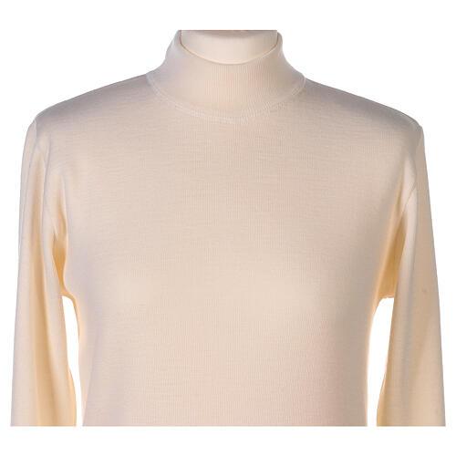 Lupetto bianco suora lavorazione maglia unita 50% lana merino 50% acrilico In Primis 2