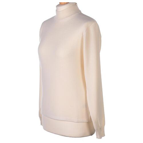 Lupetto bianco suora lavorazione maglia unita 50% lana merino 50% acrilico In Primis 3