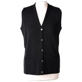 Damen-Weste, schwarz, mit Taschen und V-Ausschnitt, 50% Acryl - 50% Merinowolle, In Primis s1