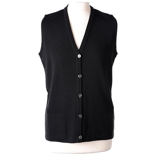 Damen-Weste, schwarz, mit Taschen und V-Ausschnitt, 50% Acryl - 50% Merinowolle, In Primis 1