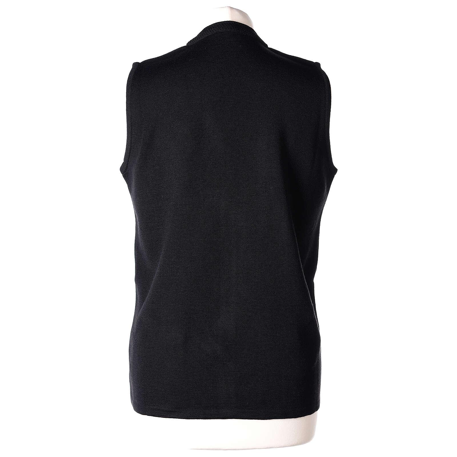 Chaleco negro monja con bolsillos cuello V 50% acrílico 50% lana merina In Primis 4