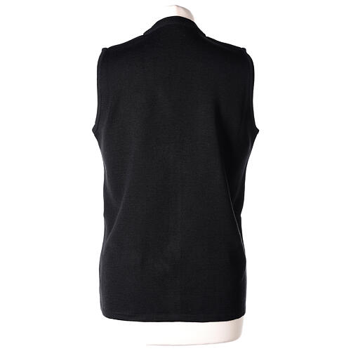Chaleco negro monja con bolsillos cuello V 50% acrílico 50% lana merina In Primis 6